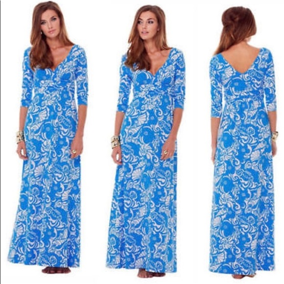 Lilly Pulitzer Gloria Maxi Ariel Blue Tide Pools NWT